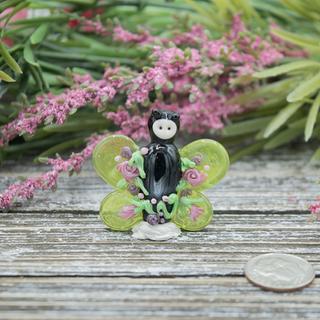Green Butterfly Lampwork Glass Bead Focal