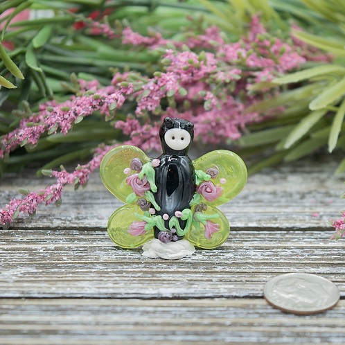 Light Green Lampwork Floral Butterfly Focal Bead
