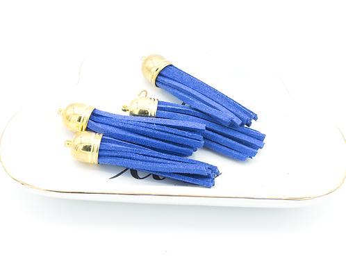 Blue Suede Gold-tone Tassel Large