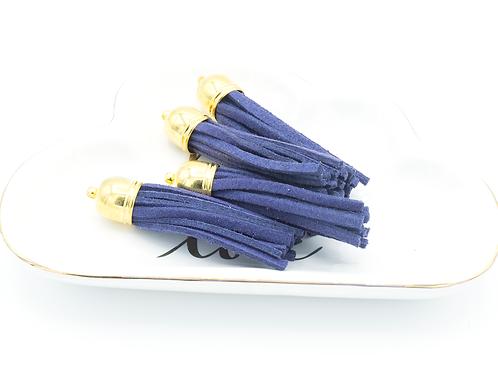 Blue Violet Suede Gold-tone Tassel Large