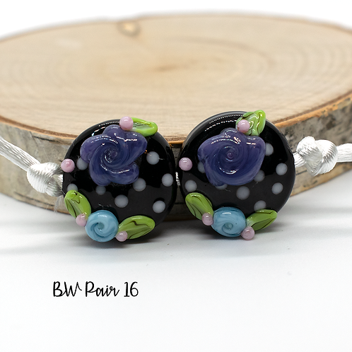 Floral Black & White Dotted Lampwork Bead Pair 16