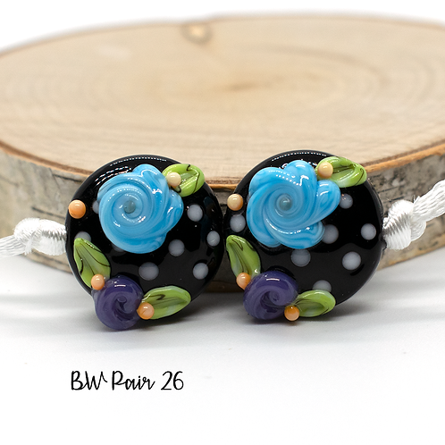 Floral Black & White Dotted Lampwork Bead Pair 26