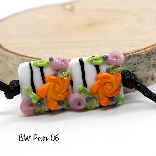 Floral Black & White Striped Lampwork Bead Pair 6
