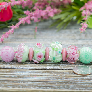 Pink & Green Lampwork Bead Set