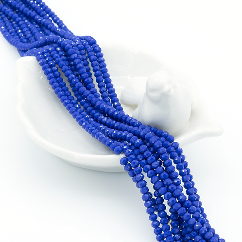 Lapis Blue Glass Faceted Rondelle Beads 2mm