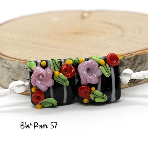 Floral Black & White Striped Lampwork Bead Pair 57