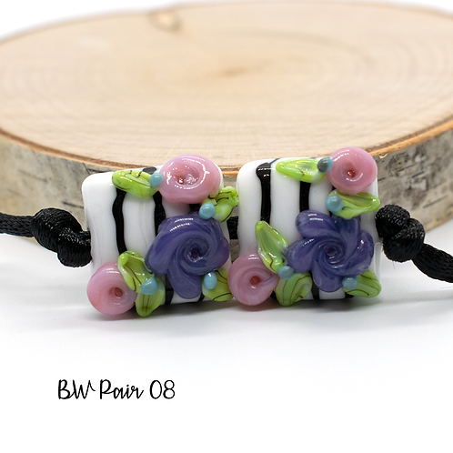 Floral Black & White Striped Lampwork Bead Pair 8