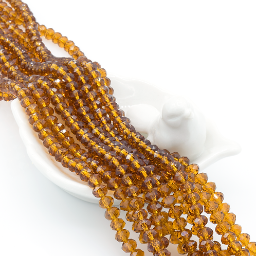 Brown Transparent Glass Faceted Round Beads 4x6mm