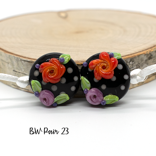 Floral Black & White Dotted Lampwork Bead Pair 23