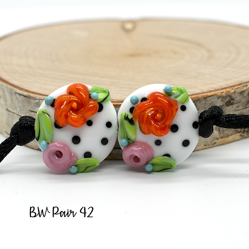 Floral Black & White Dotted Lampwork Bead Pair 42