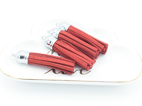 Brick Red Suede Silver-tone Tassel Large