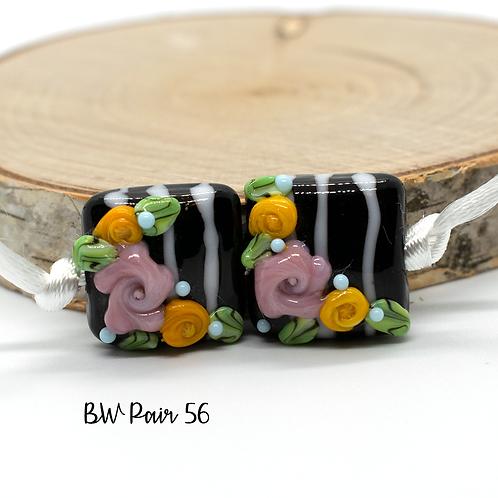 Floral Black & White Striped Lampwork Bead Pair 56