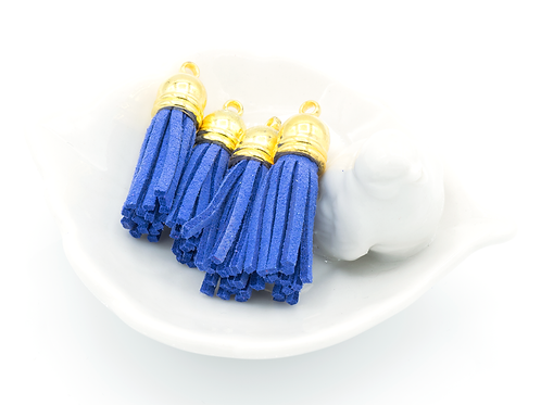 Blue Suede Gold-tone Tassel Small