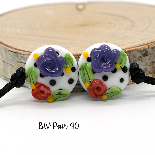 Floral Black & White Dotted Lampwork Bead Pair 40