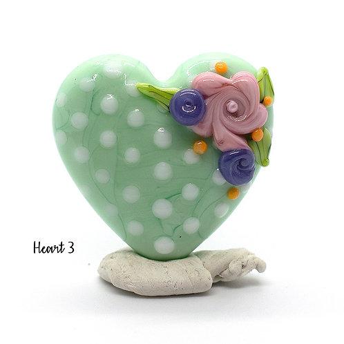 Pastel Green Polka Dot Floral Heart Focal Lampwork Bead