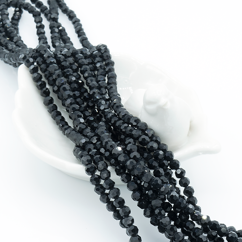 Black Glass Faceted Round Beads 4mm