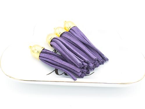 Violet Suede Gold-tone Tassel Large