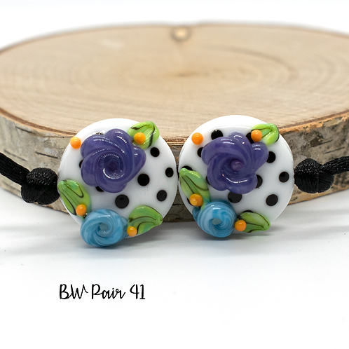 Floral Black & White Dotted Lampwork Bead Pair 41