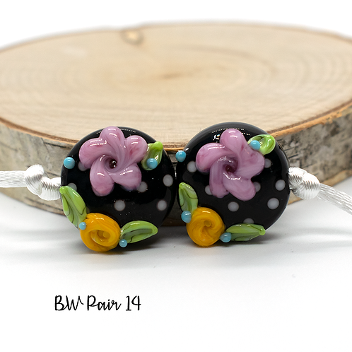Floral Black & White Dotted Lampwork Bead Pair 14