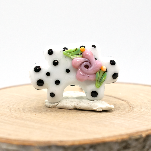 Floral Polka Dot Puzzle Piece Lampwork Bead