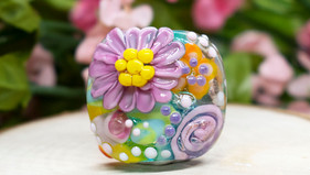 Lampwork Encased Florals and Funfetti Birdies added to Etsy!