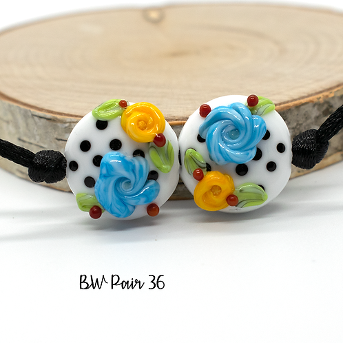 Floral Black & White Dotted Lampwork Bead Pair 36