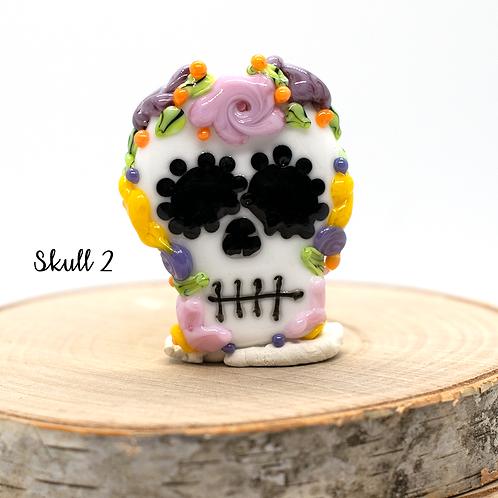Día de los Muertos Skull Focal Bead Multi Colored Crown 2