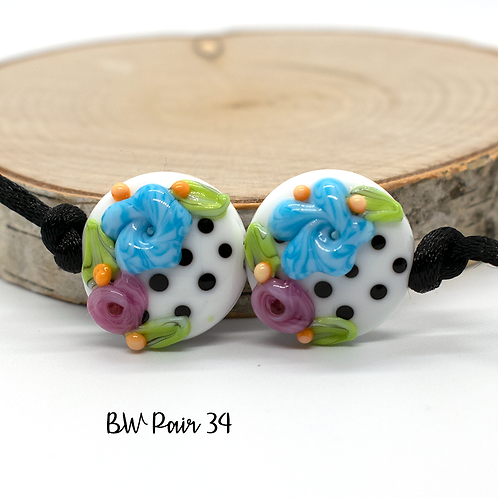 Floral Black & White Dotted Lampwork Bead Pair 34