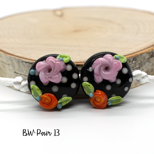 Floral Black & White Dotted Lampwork Bead Pair 13