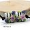Thumbnail: Floral Black & White Striped Lampwork Bead Pair 11