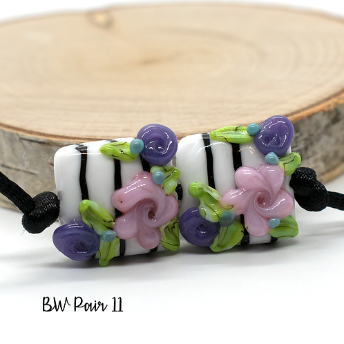 Floral Black & White Striped Lampwork Bead Pair 11
