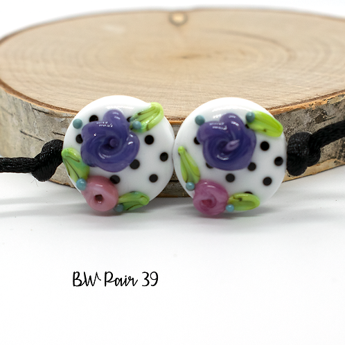 Floral Black & White Dotted Lampwork Bead Pair 39