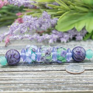 Purple & Green Floral Lampwork Bead Set
