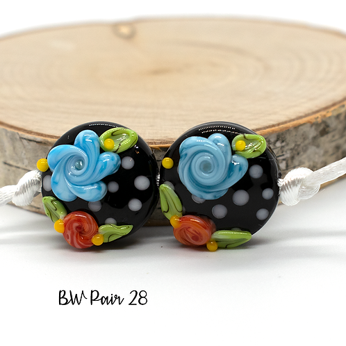 Floral Black & White Dotted Lampwork Bead Pair 28