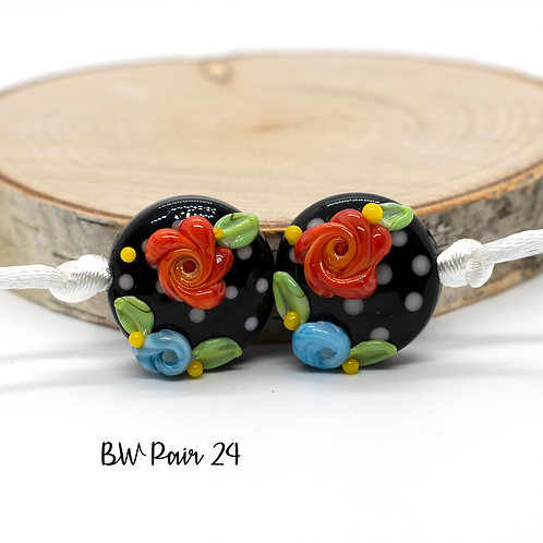 Floral Black & White Dotted Lampwork Bead Pair 24