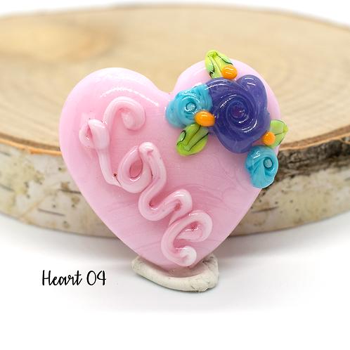 "Pink 'Love"" Floral Heart Focal Lampwork Bead"