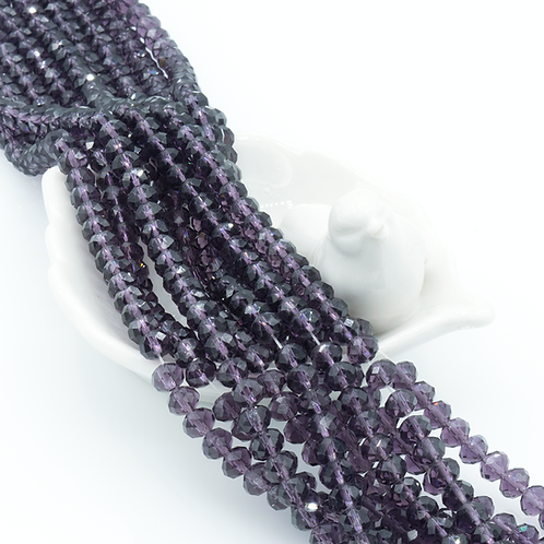 Grape Transparent Glass Faceted Round Beads 4x6mm