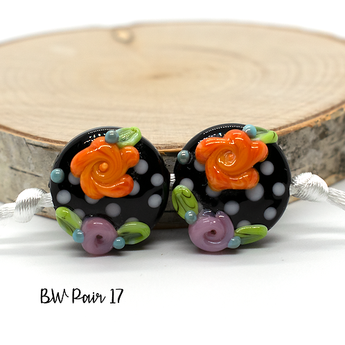 Floral Black & White Dotted Lampwork Bead Pair 17