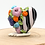 Thumbnail: Floral Heart Striped Focal Lampwork Bead