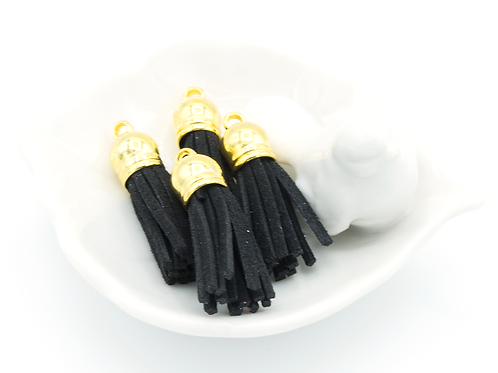 Black Suede Gold-tone Tassel Small