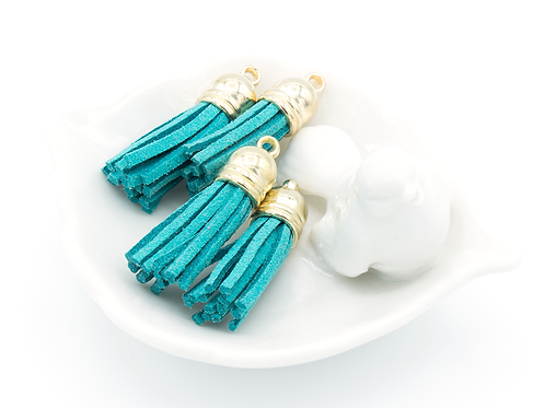 Teal Suede Gold-tone Tassel Small