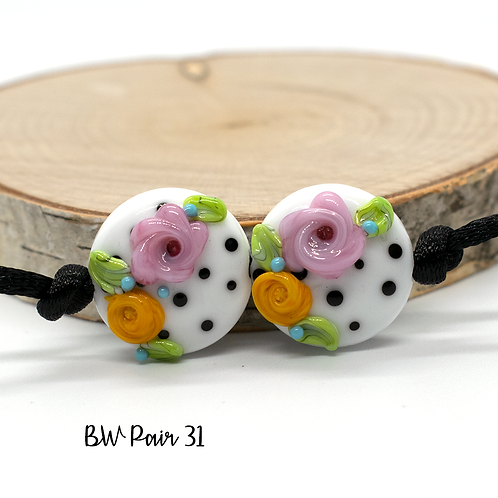 Floral Black & White Dotted Lampwork Bead Pair 31