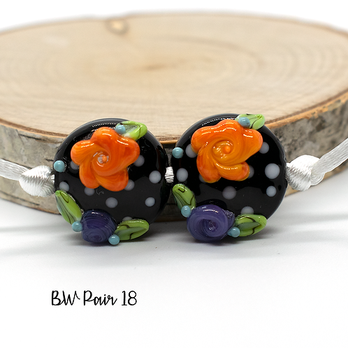 Floral Black & White Dotted Lampwork Bead Pair 18