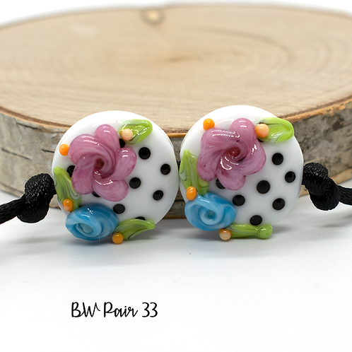 Floral Black & White Dotted Lampwork Bead Pair 33