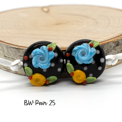 Floral Black & White Dotted Lampwork Bead Pair 25