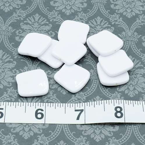 Curved White Square Acrylic Beads
