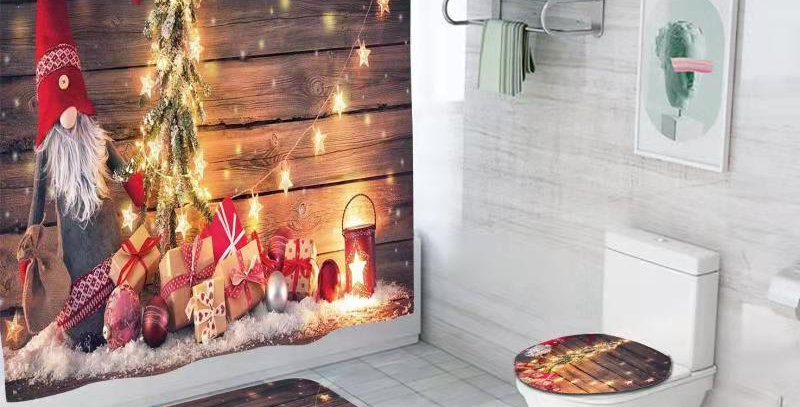 Gnome Christmas Lights Shower Curtain