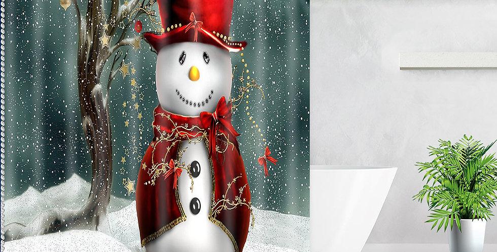 Snowman Red Hat Shower Curtain
