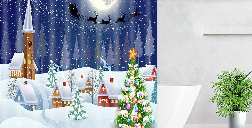 Village with Snow Shower Curtain