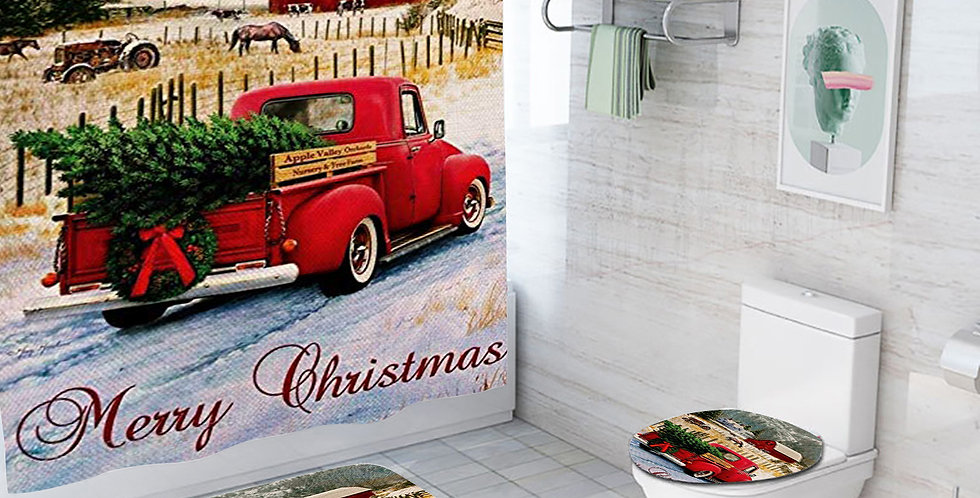 Merry Christmas Red Truck Shower Curtain